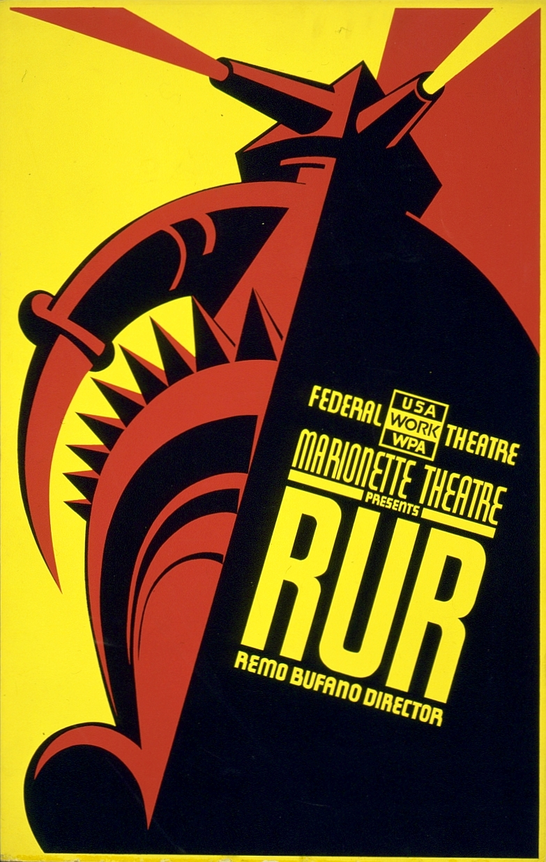 Cartel de 1939 para la puesta en escena de R.U.R. en Nueva York, dirgida por Remo Bufano.