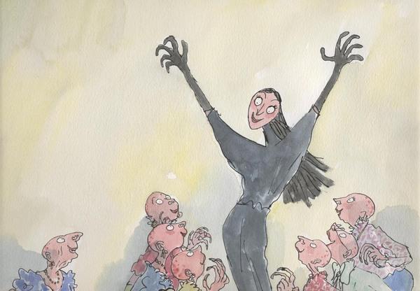 Las brujas de Dahl; calvas, malvadas, no tienen dedos en los pies y escupen saliva azul. Ilustración de Quentin Blake