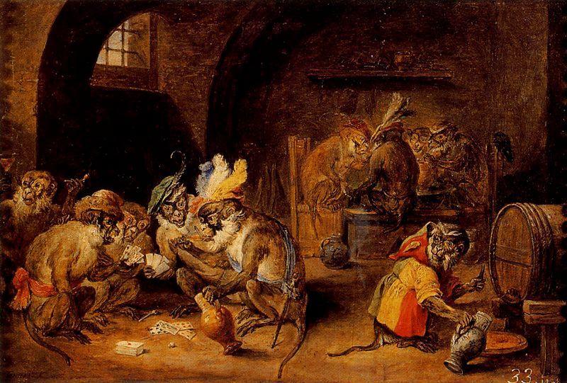 """David Teniers """"el joven"""", Monos en una bodega, 1660."""