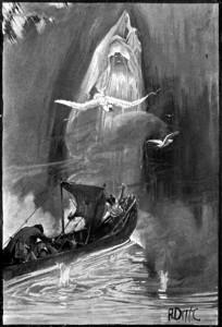 """""""Pero he aquí que surgió en nuestra senda una figura humana amortajada, de proporciones mucho más grandes que las de ningún habitante de la tierra."""" Ilustración de Albert Edward Sterner (1895)"""