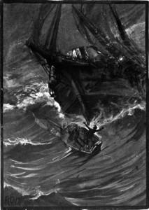 Ilustración de Albert Edward Sterner (1895) para la narración Arthur Gordon Pym de Nantucket por Edgar Allen Poe