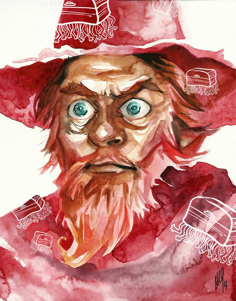 Rincewind y Equipaje, turista del Imperio Ágata. Ilustración realizada por María Emegé; mariaemege.daportfolio.com/, para Fabulantes.