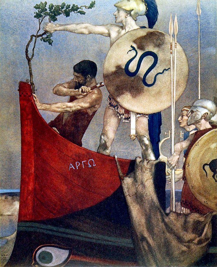"""Cómo los Argonautas construyen la nave Argos en Lolcos """"Los Heroes ..."""" (1912) ilustración de William Russell Flint"""