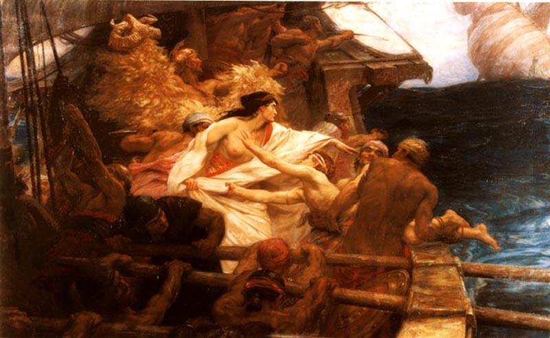 El Bellocino de Oro, por Herbert James Draper, 1864-1920. 1904. Oleo sobre lienzo en el que se muestra a Medea lanzando a su hermano a las profundidades.
