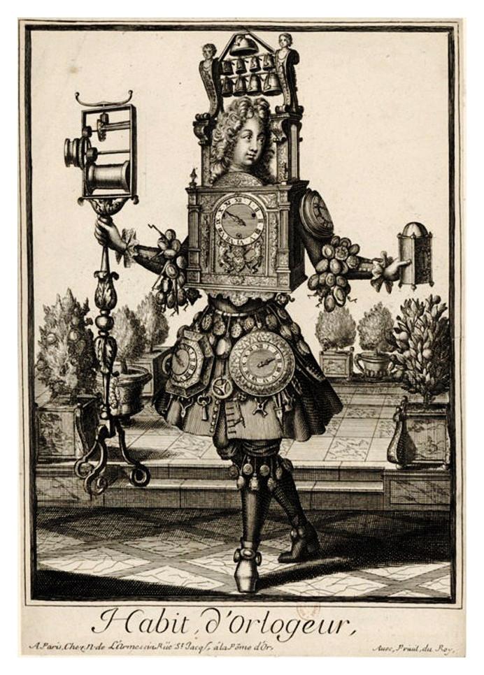 Nicolas Larmessin, Disfraz grotesco. Relojero, publicado por Gerard Valck (1651.2-1726) c.1690.