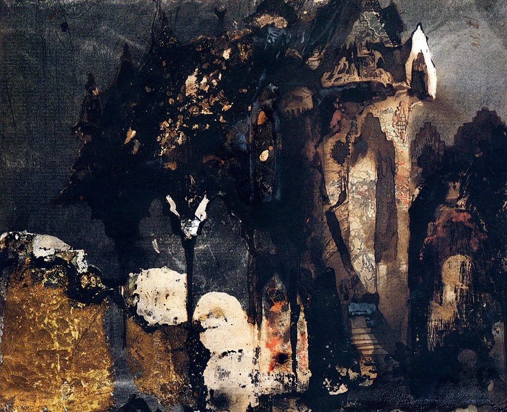 Castillo en un paisaje fántastico, ilustración realizada por Victor Hugo (1802-1885)