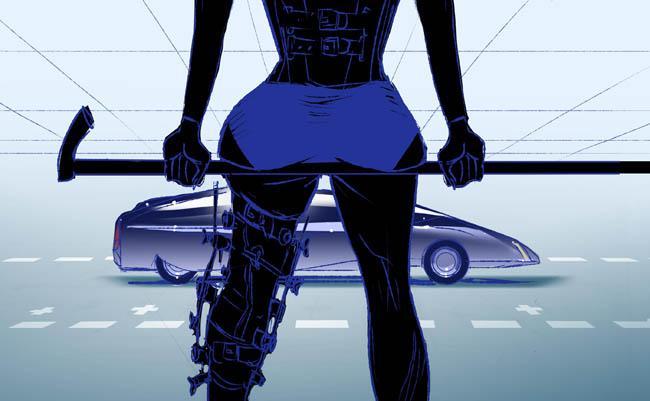 Ilustración inspirada en la novela de Ballard, realizada por  Tekkoman
