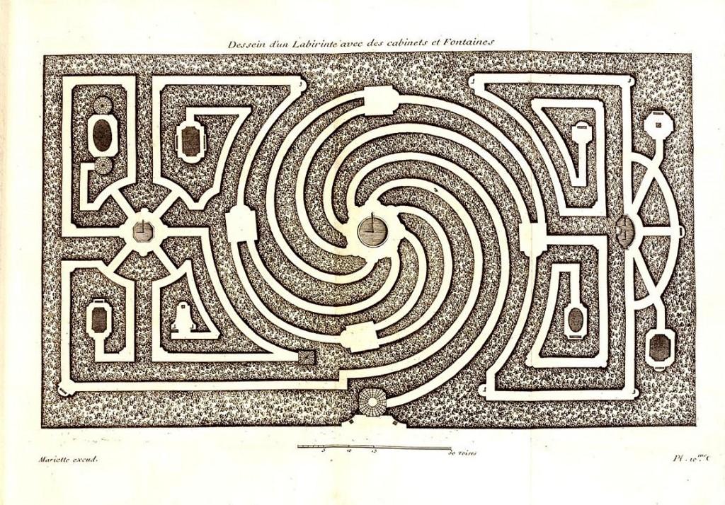 Dezallier_d'Argenville_1709_(labyrinthe). Irrgarten, Wirbellabyrinths
