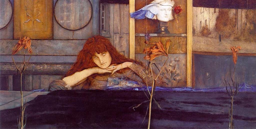 Fernand Khnopff, Ich schliesse mich in mich selbst ein, Cierro la puerta tras de mí, 1891.