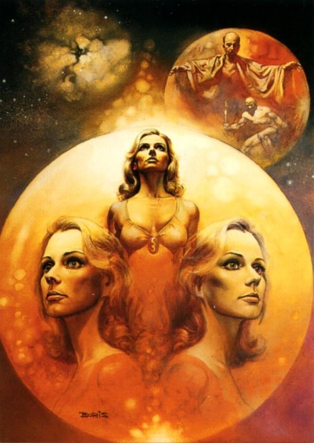 The ophiuchi hotline, ilustración realizada en 1976 por Boris Vallejo para la edición de Quantum Scrience Fiction de 1978