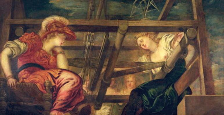 Atenea y Aracne, c.1475 85 - Jacopo Tintoretto