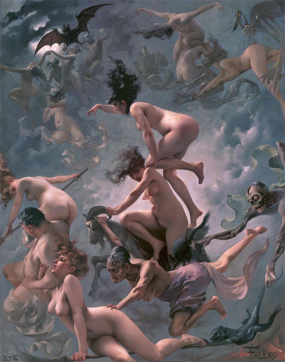 Pintura realizada por  Luis Ricardo Falero  Brujas yendo al Sabbath, Oleo sobre lienzo (1878)