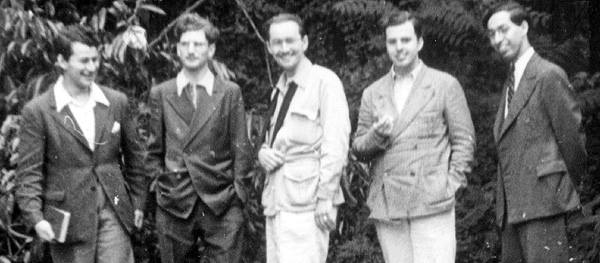 Cyril Kornbluth, Chester Cohen, John B. Michel, Robert A.W. Lowndes and Donald A. Wollheim, from left. (Photo by Jack Robins, Tarrytown, N.Y., July 1939