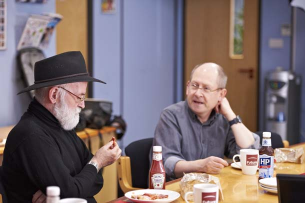 Stephen Bexter Terry Pratchett meeting boardroom collaboration SFX team