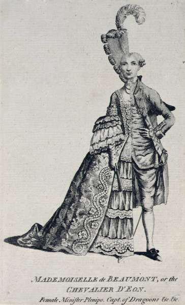 CWA123968 Mademoiselle de Beaumont or the Chevalier d'Eon, c.1762-63 (engraving) by English School, (18th century); © City of Westminster Archive Centre, London, UK; (add.info.: Charles d'Eon de Beaumont (1728-1810); mi-homme; mi-femme; mi homme; mi femme;); English, out of copyright