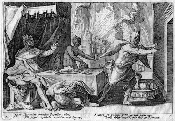 atribuido a Hendrick Goltzius, para una edición de 1589 de Las metamorfosis de Ovidio. Licaón transformado por Zeus.