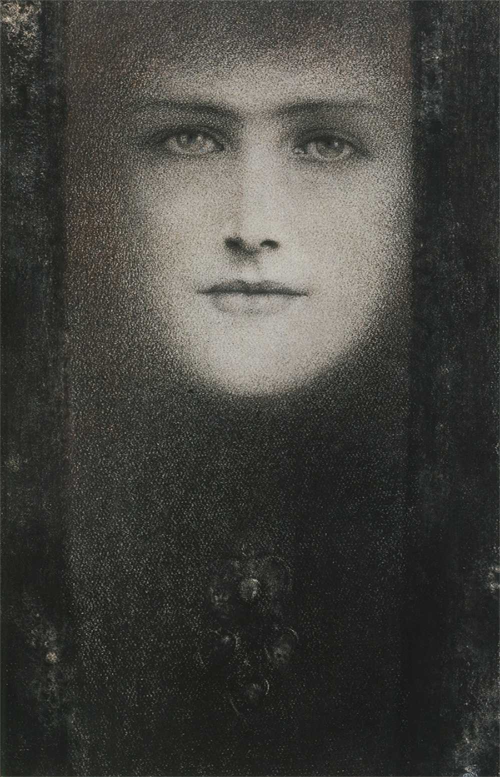 Khnopff, The Mask of the Black Curtain, 1909