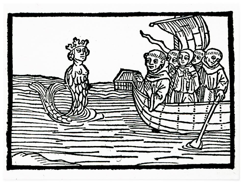 brendan. St. Brendan and the Siren, illustration from 'The Voyage of St. Brendan', 1499