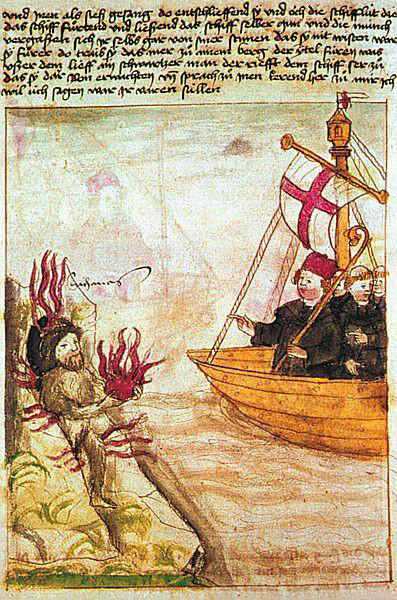 brendan. St. Brendan in his ship, from the German translation of ' Navigatio Sancti Brendani Abbatis', c.1476