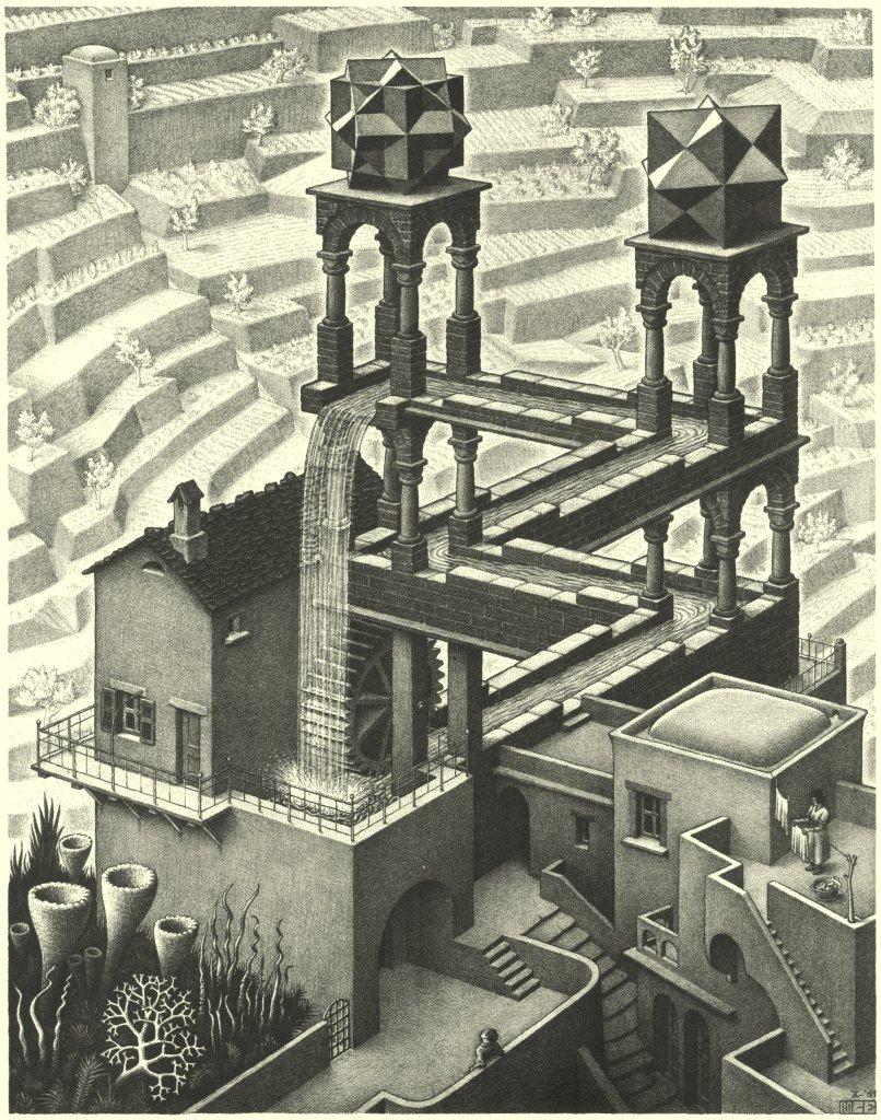Ilustración de Escher, para Cuentos como cintas de Möbius de Darío Fernández para Fabulantes